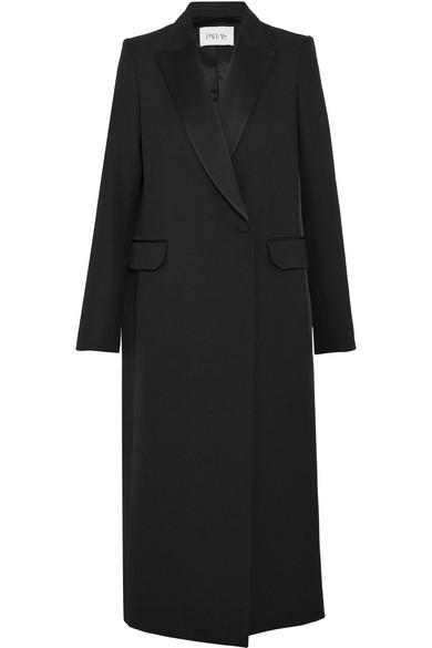 Pallas - Satin-trimmed Wool-crepe Coat - Black