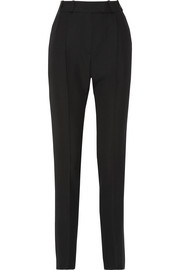 Aden pleated satin-trimmed grain de poudre wool tapered pants