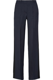 Amundsen satin-trimmed grain de poudre flared pants
