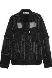 Organza-paneled frayed denim jacket