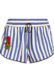 Embroidered striped silk shorts