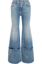 Frayed mid-rise wide-leg jeans