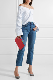 Olympia Le-Tan Dutchies embellished suede-trimmed leather clutch