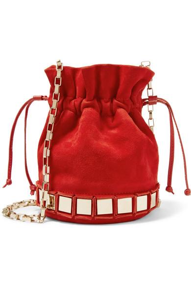 tomasini paris female tomasini lucile embellished suede bucket bag red