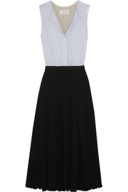Paneled cotton-poplin and jersey dress