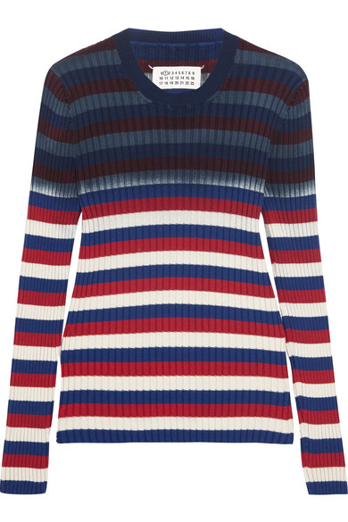 Maison Margiela - Striped Ribbed Cotton Sweater - Navy