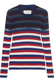 Striped ribbed cotton sweater