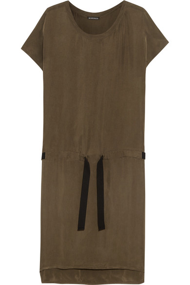 Ann Demeulemeester - Washed Satin-twill Dress - Army green
