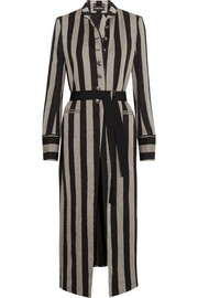 Striped linen-blend coat