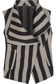 Printed striped linen-blend vest