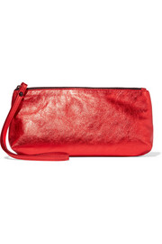 Ann Demeulemeester Metallic textured-leather clutch