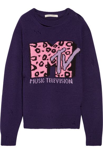 marc jacobs female marc jacobs oversized distressed intarsia wool and cashmereblend sweater purple