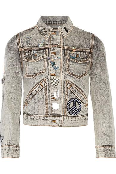 marc jacobs female marc jacobs embellished appliqued denim jacket gray
