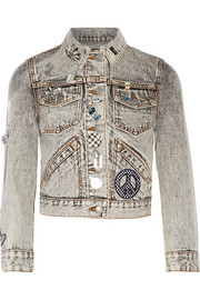 Embellished appliquéd denim jacket