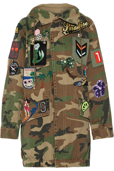 Marc Jacobs - Oversized Embellished Camouflage-print Cotton-canvas Jacket - Green