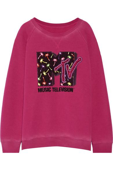 marc jacobs female marc jacobs appliqued jersey sweatshirt magenta