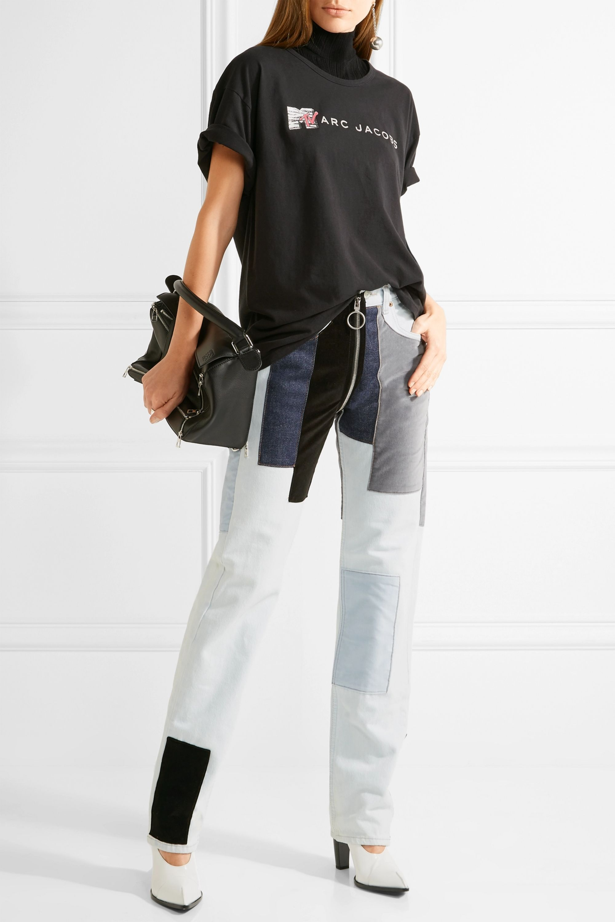 Runway Marc Jacobs Oversized embellished cotton-jersey T-shirt