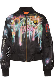 Embellished painted shell bomber jacket