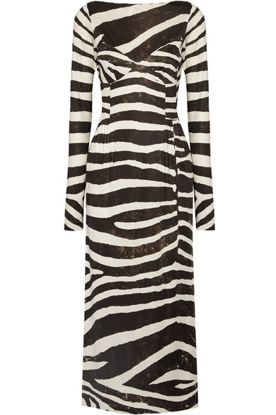 Marc Jacobs - Zebra-print Stretch-jersey Dress - Black