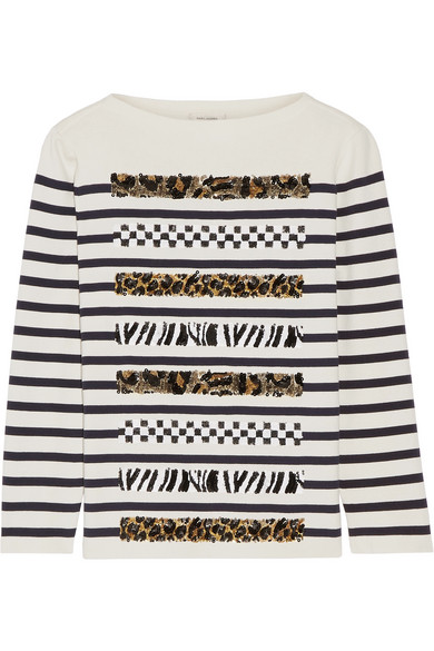 marc jacobs female 218263 marc jacobs embellished striped cotton and cashmereblend sweater cream