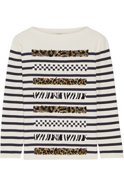 Embellished striped cotton and cashmere-blend sweater
