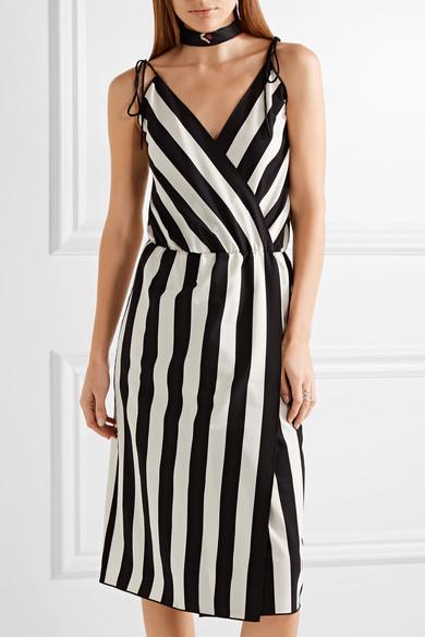 MARC JACOBS Wrap-Effect Striped Crepe Dress