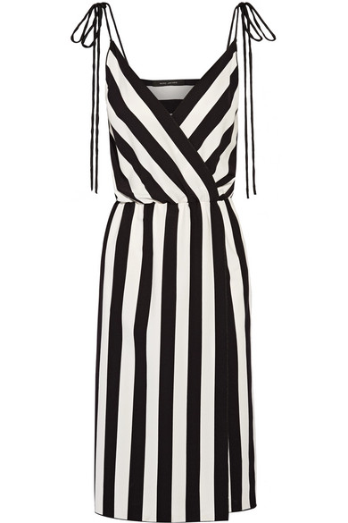 marc jacobs female 188971 marc jacobs wrapeffect striped crepe dress black