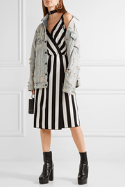 Marc Jacobs Wrap-effect striped crepe dress