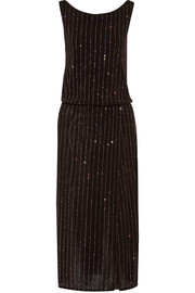 Wrap-effect glitter-embellished stretch-knit dress