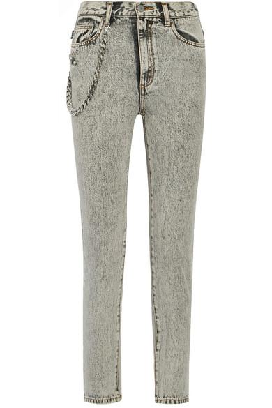 marc jacobs female marc jacobs embellished appliqued highrise skinny jeans light gray