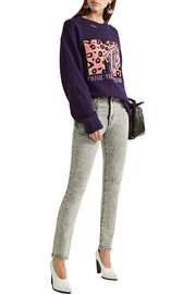 Embellished appliquéd high-rise skinny jeans
