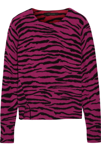 marc jacobs female marc jacobs intarsia cashmere sweater magenta