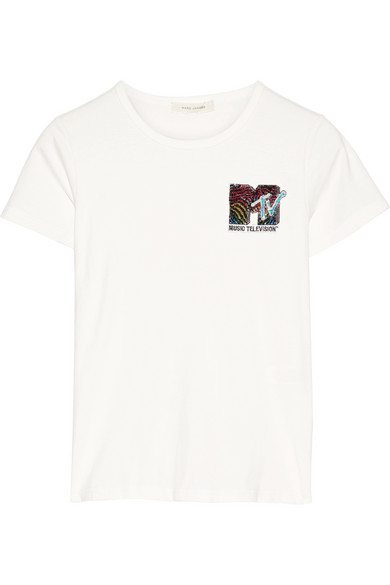 marc jacobs female marc jacobs appliqued cottonjersey tshirt white