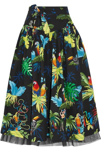 Marc Jacobs - Embellished Printed Cotton-blend Poplin Midi Skirt - Black