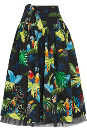 Marc Jacobs Embellished printed cotton-blend poplin midi skirt