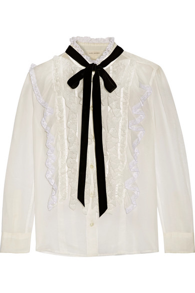 Marc Jacobs - Pussy-bow Ruffled Lace-trimmed Cotton-voile Blouse - Ivory