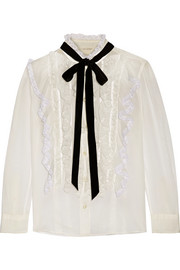 Pussy-bow ruffled lace-trimmed cotton-voile blouse