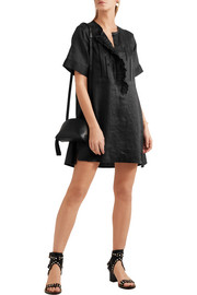 Ariana ruffled broderie anglaise ramie mini dress