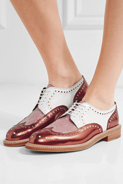 Roeltm glittered and metallic leather brogues