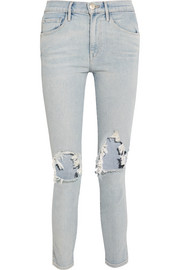 W3 distressed high-rise slim-leg jeans