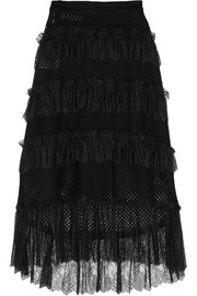 Philosophy di Lorenzo Serafini Lace-trimmed tiered cotton-blend mesh skirt