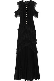 Tiered ruffled cotton-blend lace maxi dress