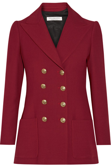 Exact Product: Kate Middleton Maroon Double Breasted Blazer Street Style 2019, Brand: Philosophy Di Lorenzo Serafini, Available on: net-a-porter.com, Price: $1060.5
