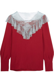 Lace-paneled crepe top