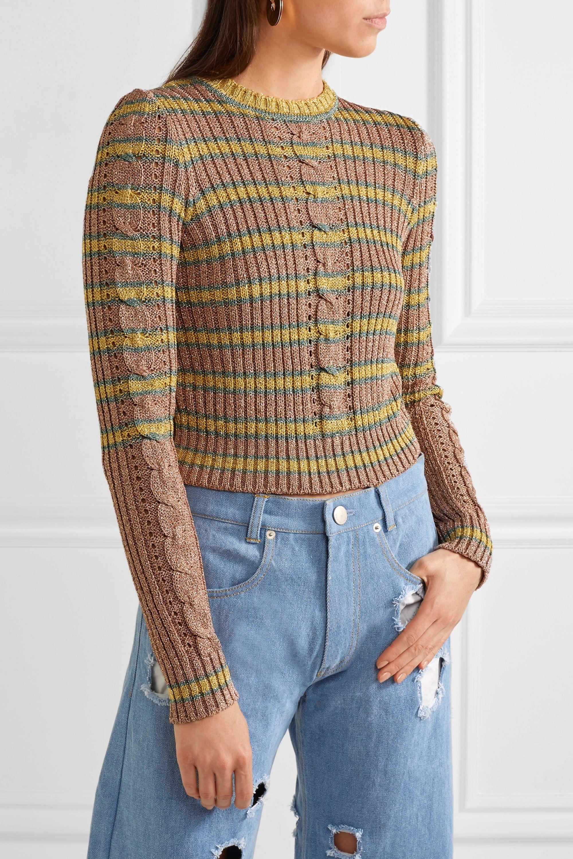 Philosophy di Lorenzo Serafini Metallic striped cable-knit sweater
