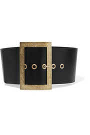 Textured-leather waist belt