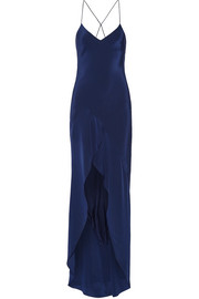 Michelle Mason Open-back asymmetric silk-satin gown