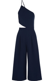 One-shoulder cutout stretch-crepe jumpsuit
