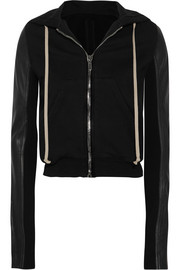 Rick Owens Leather-paneled cotton-jersey hooded top