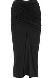 Rick Owens Ruched jersey midi skirt